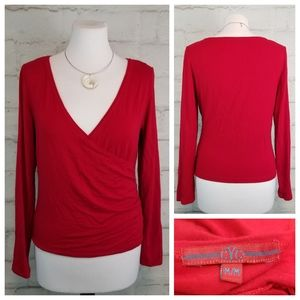 CYC M Red Long Sleeve Mock Wrap Top Soft Stretchy